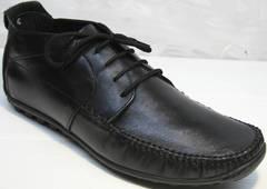 Мужские мокасины на шнурках Ikoc 112-1Black