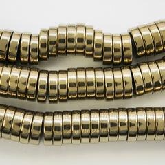 Бусина Гематит (искусств), рондель, цвет - золотисто-бронзовый, 8х2 мм, нить