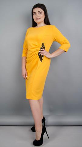 Тейлор. Красивое женское платье плюс сайз. Горчица.