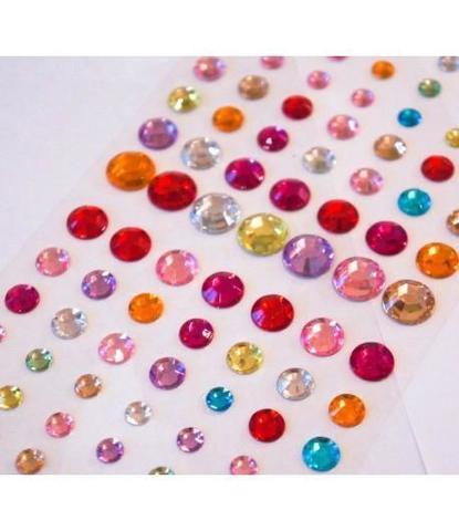Стразы самоклеющиеся круглые разного размера 78 шт разноцветные