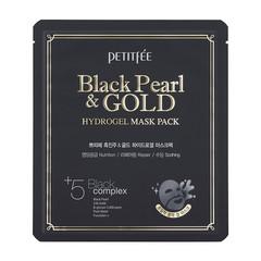 Гидрогелевая маска для лица с чёрной жемчужной пудрой и золотом Petitfee Black Pearl & Gold Hydrogel Mask Pack