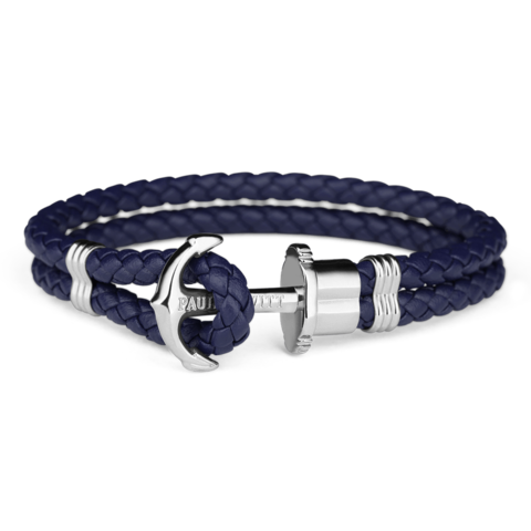 Leather Silver Bracelet Blue