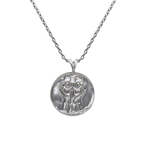 Pendant, Zodiac sign Gemini on a chain, sterling  silver