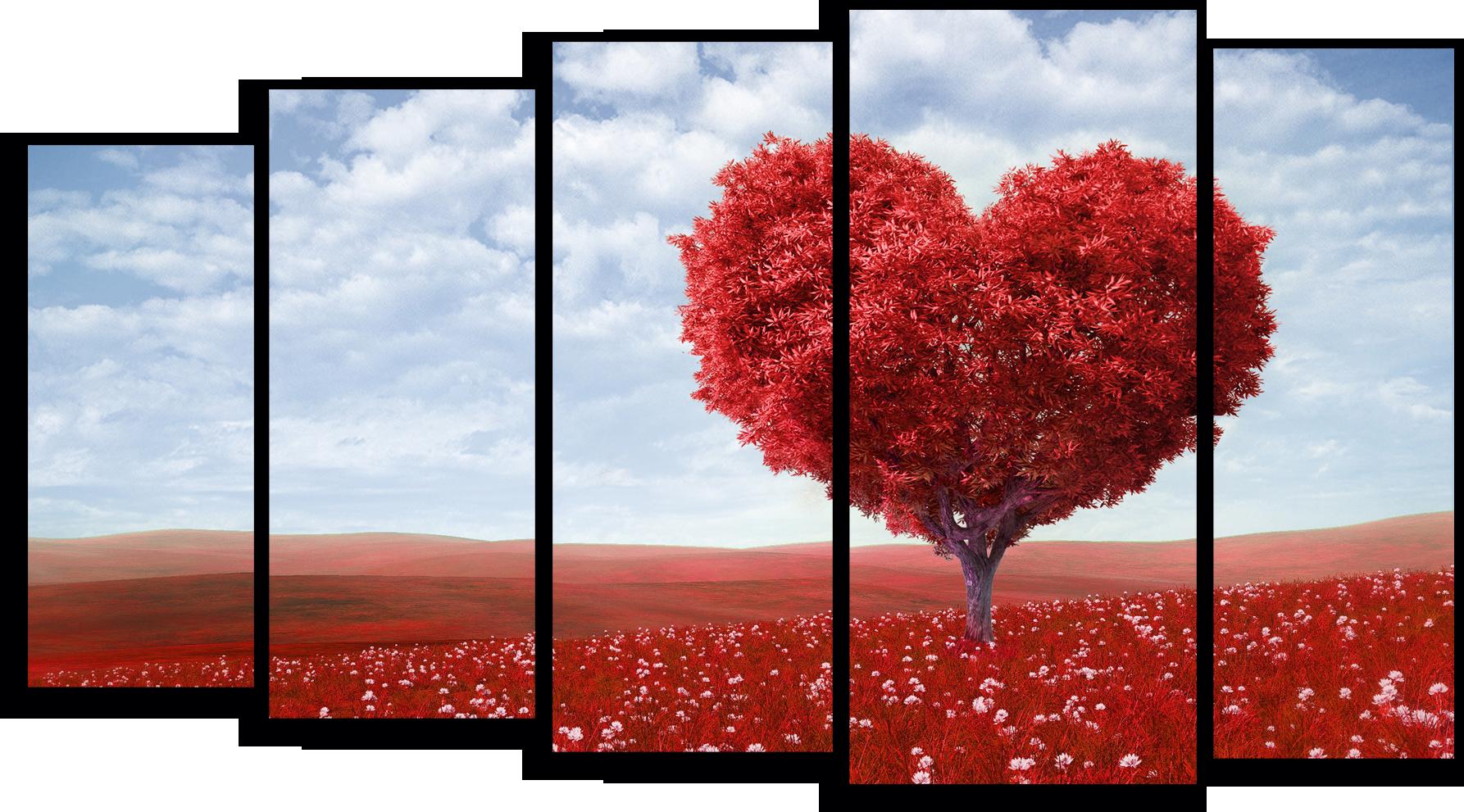 """Природа Модульная картина """"Красное дерево любви"""" М755.png"""