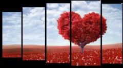 "Модульная картина ""Красное дерево любви"""