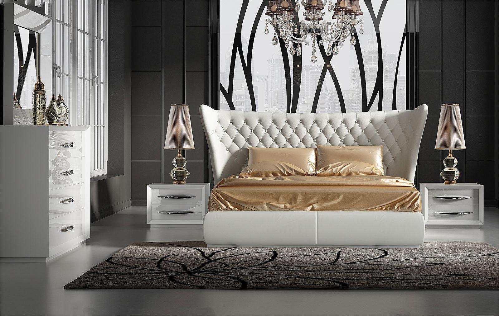 Кровать FRANCO MIAMI белая, тумбочки FRANCO 1016 белая, Комод горизонтальный FRANCO 1017 белый