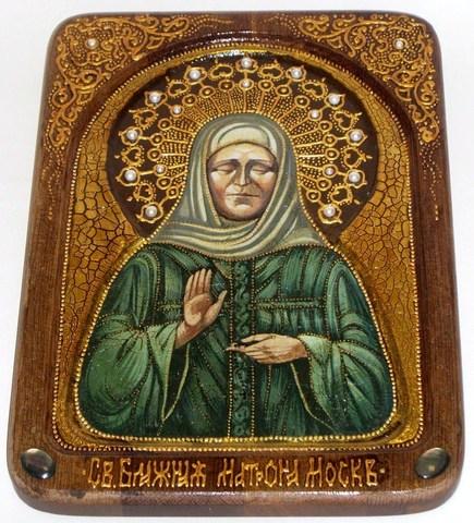 Инкрустированная живописная икона Блаженная старица Матрона Московская 29х21см на натуральном кипарисе в подарочной коробке