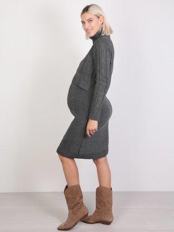 Евромама. Платье вязаное для беременных и кормящих, антрацит