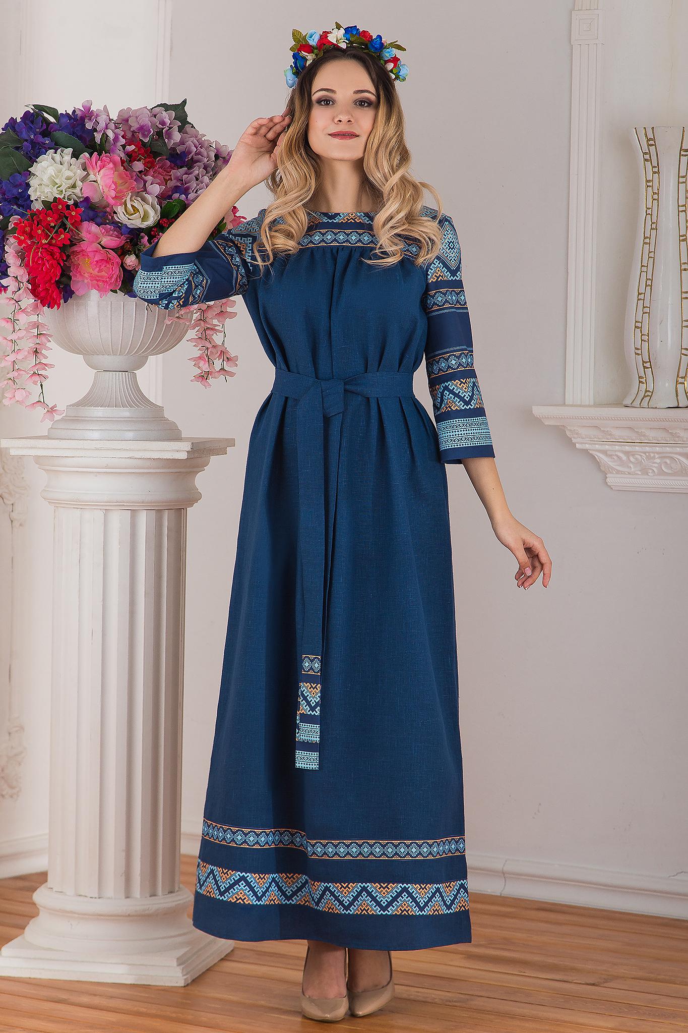 Платье льняное Каспийское в русском стиле