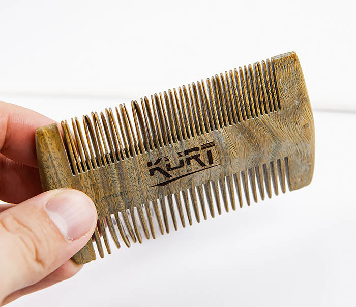 RAZ454 Деревянный двухсторонний гребень для бороды фото 03
