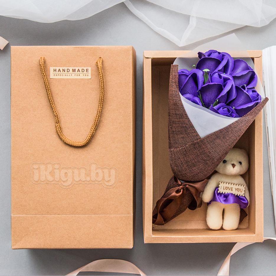 """Подарки на 8 марта Ароматизированное мыло """"Мишка С Букетом Роз"""" МИШКА_ФИОЛЕТОВЫЙ.jpg"""