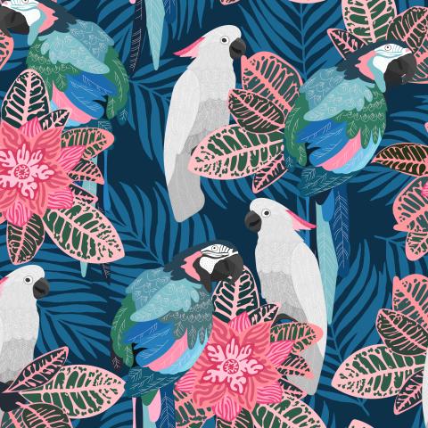 Тропические птицы на синем
