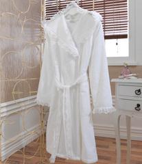 LUNA- ЛУНА  Белый махровый женский халат Soft Cotton (Турция)