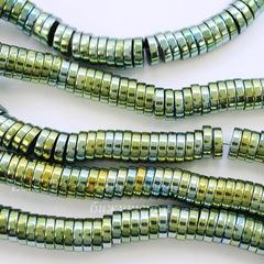 Бусина Гематит (искусств), рондель, цвет - золотисто-платиновый с бензиновым отливом, 8х2 мм, нить