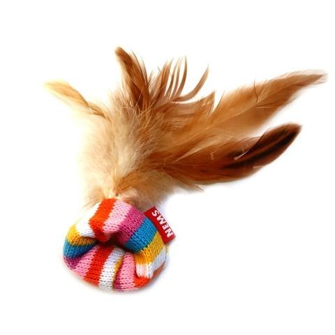 NEMS игрушка для кошки с перьями вязанная