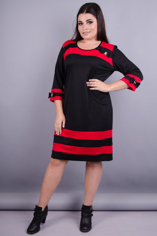 Шанель. Сукня великих розмірів. Чорний+червоний.