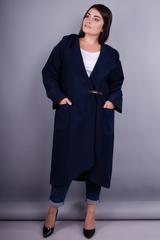 Сарена. Женское пальто-кардиган больших размеров. Синий.