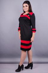 Шанель. Платья больших размеров. Черный+красный.