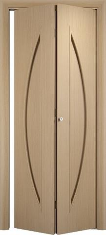 Дверь складная Верда С-6 (2 полотна), цвет беленый дуб, глухая