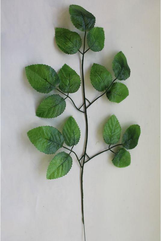 Веточка 15 листков  розы, 45 см.