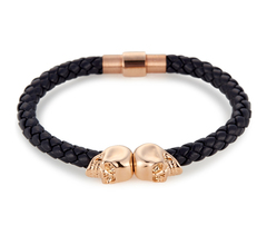 Браслет с черепом Northskull Navy Blue Nappa Leather/ 18kt. Rose Gold Twin Skull bracelet