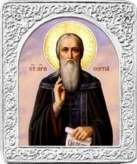 Святой Сергий. Маленькая икона в серебряной раме.