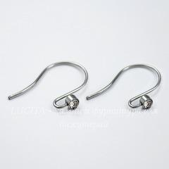 Швензы - крючки со стразом, 19 мм (цвет - платина), пара