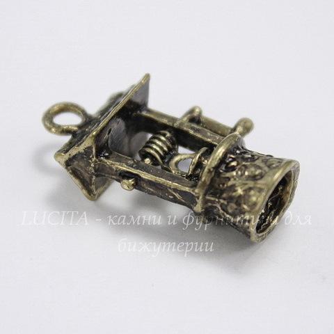 "Подвеска ""Колодец"" (цвет - античная бронза) 22х13х8 мм"