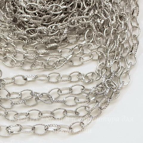 Цепь с насечками (цвет - античное серебро) 8х6 мм, примерно 13 м