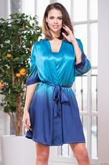 Халат женский шелковый голубой MIA Amore  SELENA СЕЛЕНА 3393