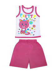 DL054-70-9-27 костюм детский (шорты+майка), розовый