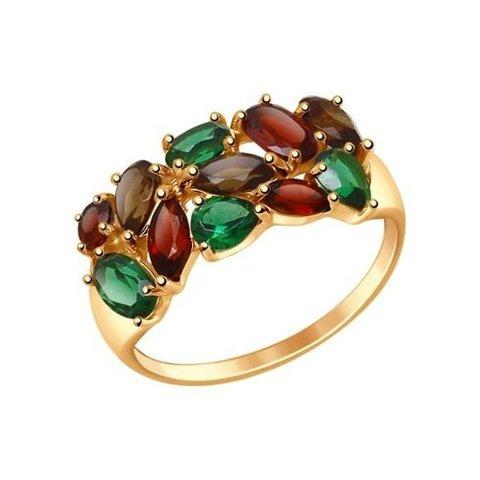 714681 - Кольцо из золота с полудрагоценными вставками