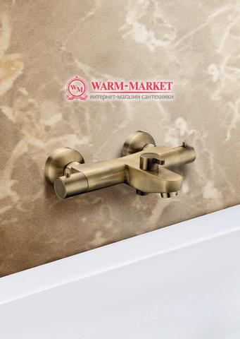 Elg Bronze 021 - бронзовый смеситель для ванны с термостатом
