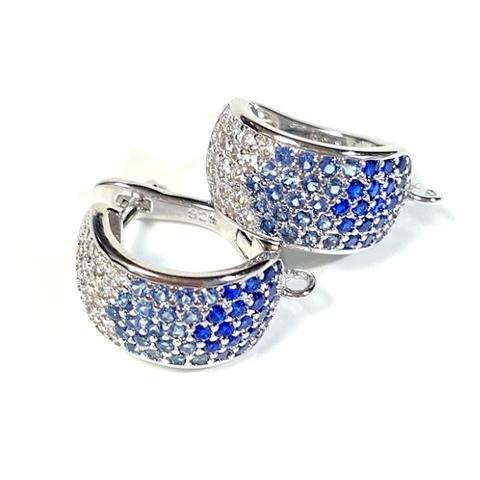 Швензы c голубыми и синими цирконами цвет платина 1 пара