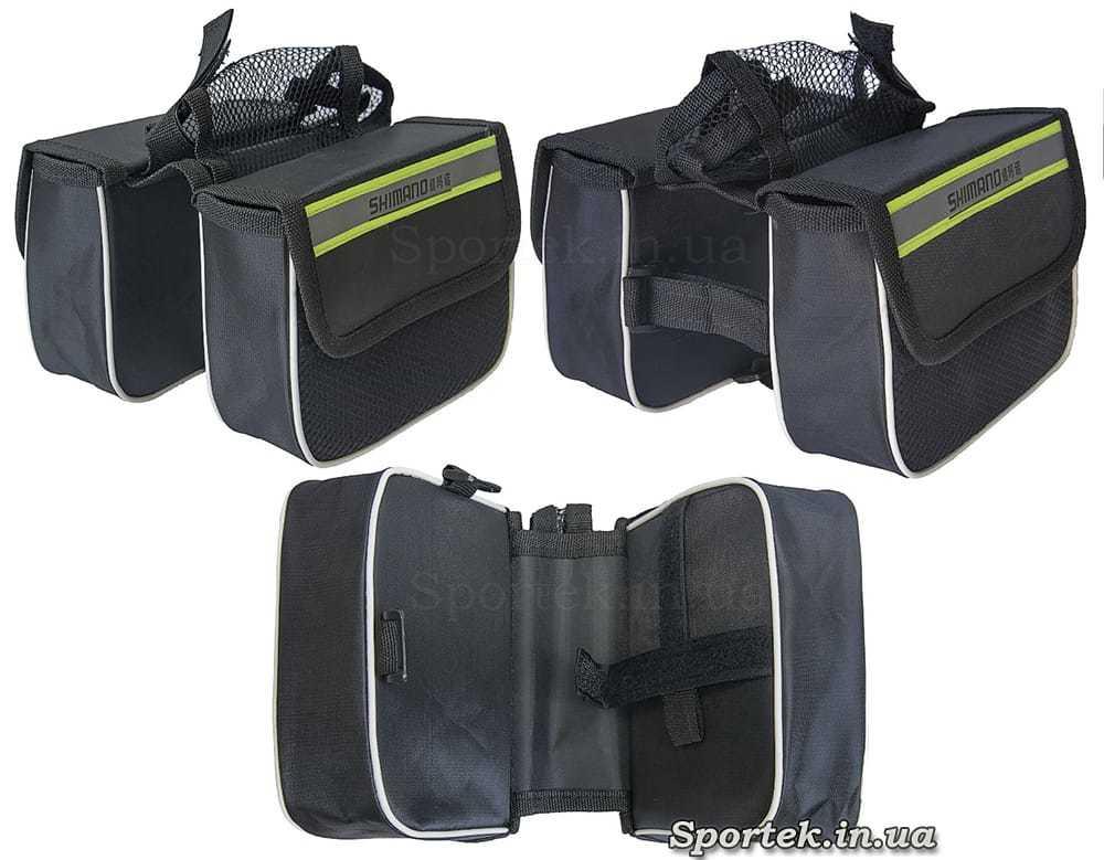 Велосумка Shimano спереди на раму, двойная с боковыми сетчатыми кармашками