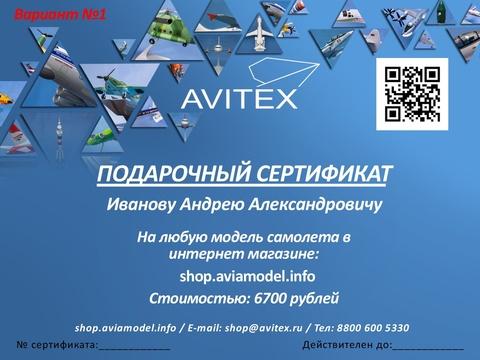 Подарочный сертификат на любую сумму или модель самолета.