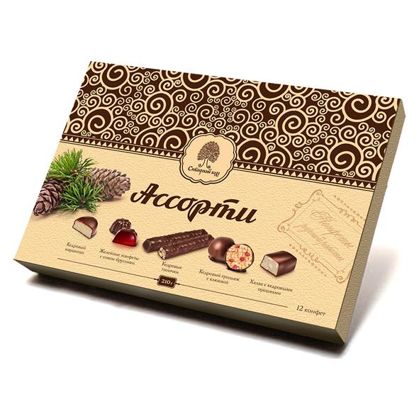 Конфеты в коробке Сибирский кедр ассорти