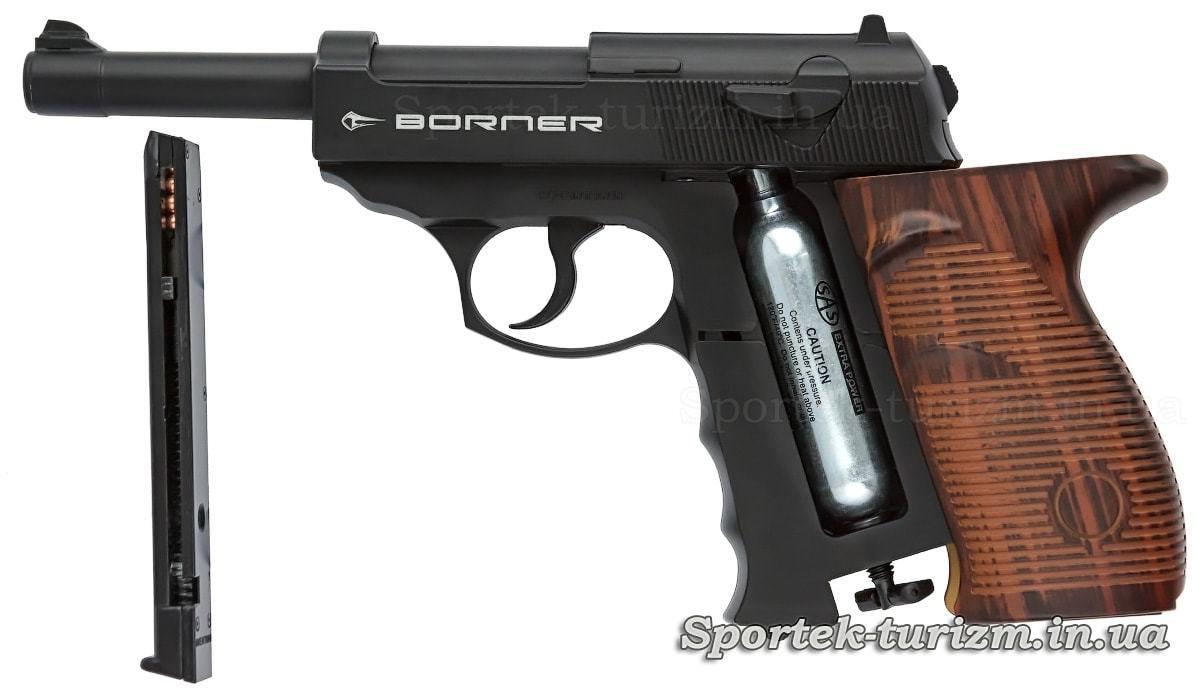 Магазин и баллон с газом в пистолете Borner C41