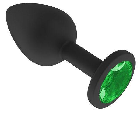 Чёрная анальная втулка с зеленым кристаллом - 7,3 см.