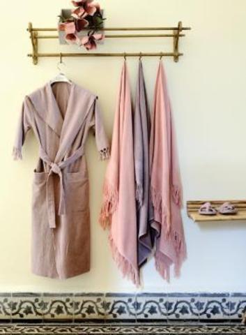 Элитный халат хлопковый Meyzer Tassels жемчужный от Hamam