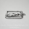 """Подвеска """"Зайчик"""" в рамке (цвет - античное серебро) 31х26 мм"""