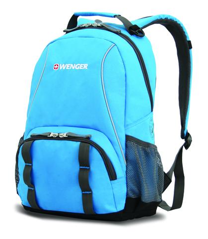 Качественный с гарантией прочный школьный рюкзак на молнии голубой с серым объёмом 20 л из полиэстра 600D с боковыми карманами для бутылок из эластичной сетки, эргономичной ручкой, системой поддержки спины Comfort Fit и дополнительным отделением с карманом для МР3-плеера и отверстием для наушников WENGER 12903415