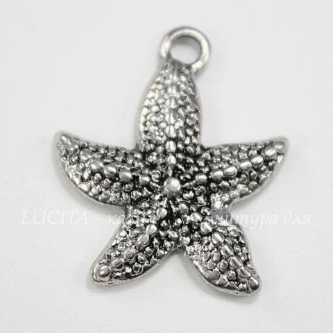 """Подвеска """"Морская звезда"""" 21х19 мм (цвет - античное серебро)"""