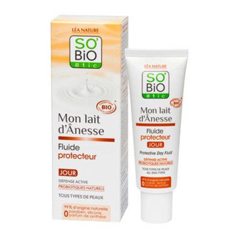 Защитный дневной флюид с ослиным молоком, 50 мл (SO'BiO etic)