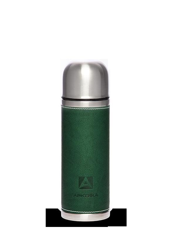 Термос Арктика (0,5 л.) с узким горлом, зеленый, кожаная вставка