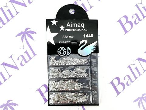 Стразы Aimaq PROFESSIONAL (белые) MIX, 1440 шт с подложкой