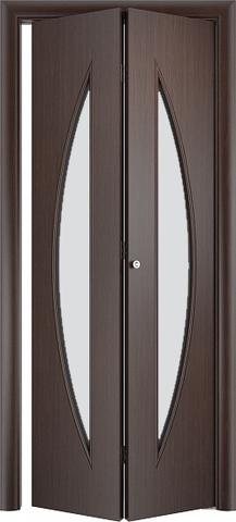 Дверь складная Верда С-6 (2 полотна), белое матовое, цвет венге, остекленная