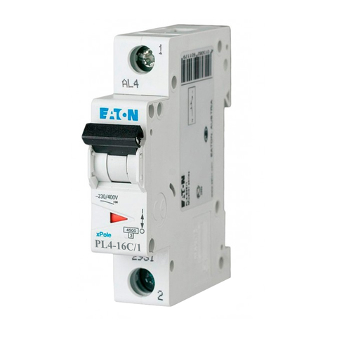 Автоматический выключатель Eaton PL4-C16/1P (23124 Moeller series)