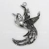 """Подвеска """"Райская птица"""" (цвет - античное серебро) 62х39 мм"""