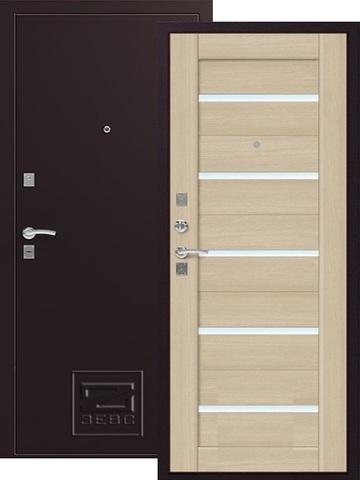Дверь входная Зевс Z-3, 2 замка, 1,5 мм  металл, (шёлк бордо+капучино)